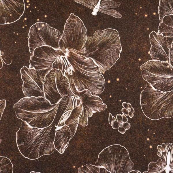 Bio-Baumwolljersey Linear Flower Melange braun