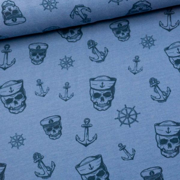 Baumwolljersey Maritim Skulls blau