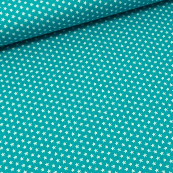 Baumwollwebware Mini Sterne aqua