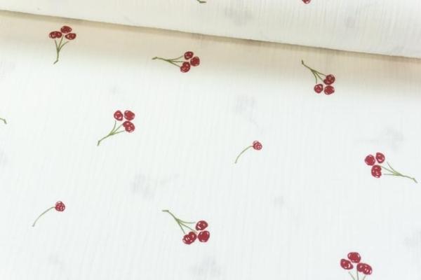 Musselin Double Gauze Drawing Cherries wollweiß 100% Baumwolle Ökotex 100