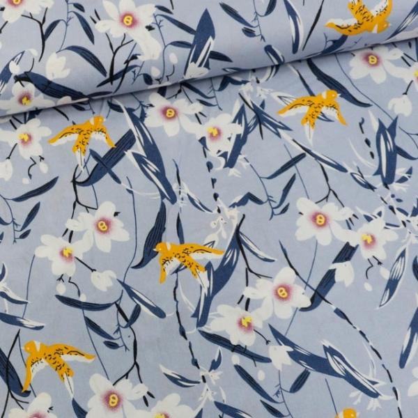 Baumwollwebware Birds & Flowers jeansblau-hell