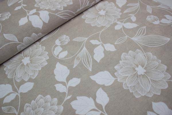 Canvas Blumenranke natur-weiß 100% Baumwolle Ökotex 100