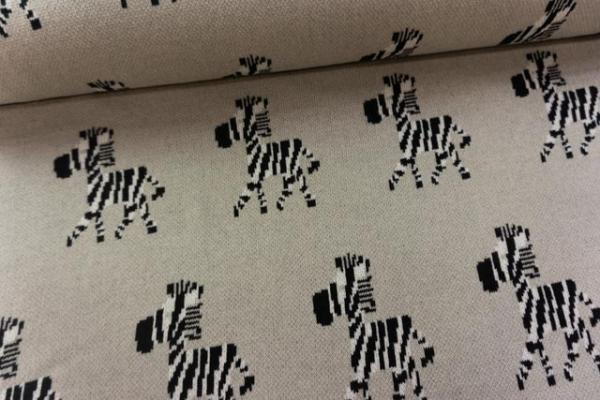 Strick Jacquard 100 % Baumwolle schwer Zebra beige Ökotex100