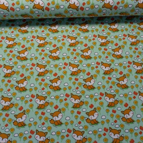 Baumwolljersey Happy Little Fox mint