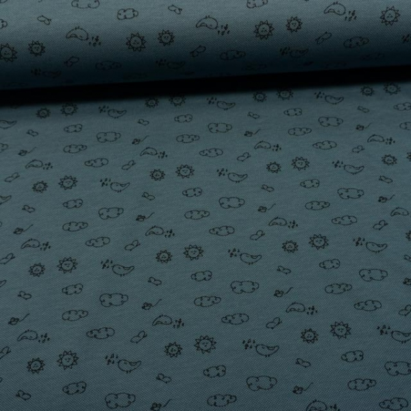 Poloshirt Baumwolljersey Mini Doodles jeansblau