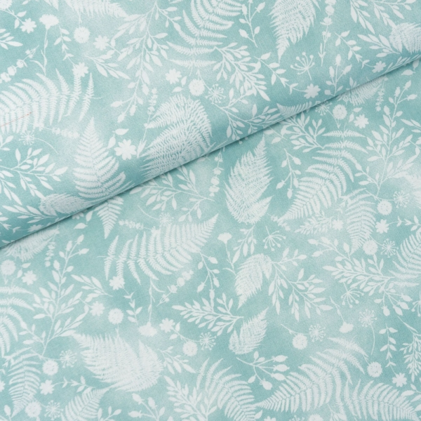 Baumwollwebware Italienische Kollektion Leaves mint-weiß Ökotex 100