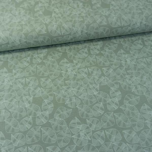 Baumwolljersey Blätter dusty mint