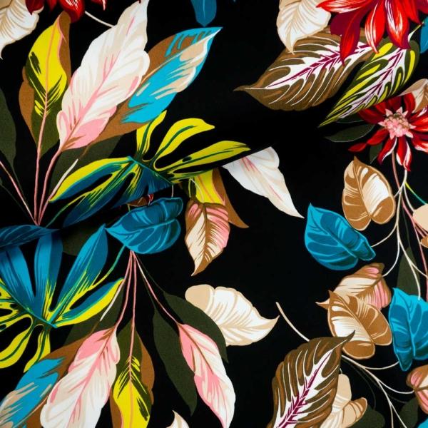 Baumwoll-Gabardine Stretch Big Leaves and Blossoms schwarz