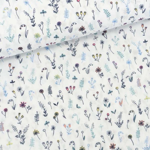 Baumwollwebware Streublümchen weiß