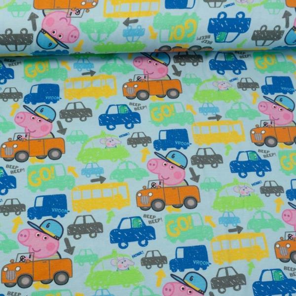 Baumwolljersey Peppa Pig Fahrzeuge hellblau