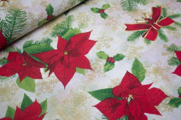 Canvas Schneeflocken Beige-Rot 100% Baumwolle Ökotex 100