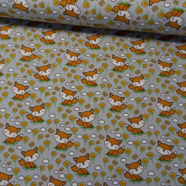 Baumwolljersey Happy Little Fox hellgrau