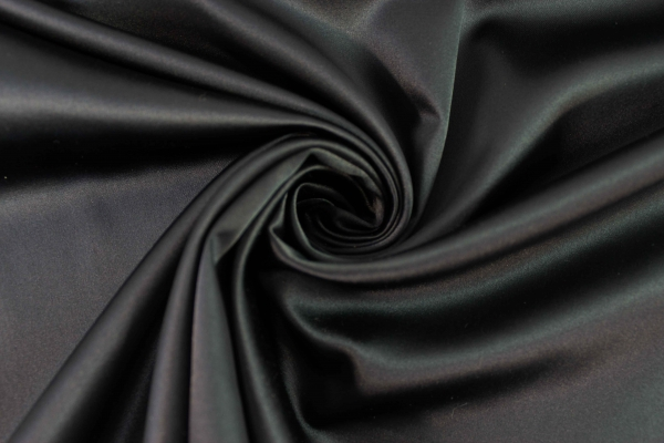 Satin Stretch Uni schwarz Ökotex 100