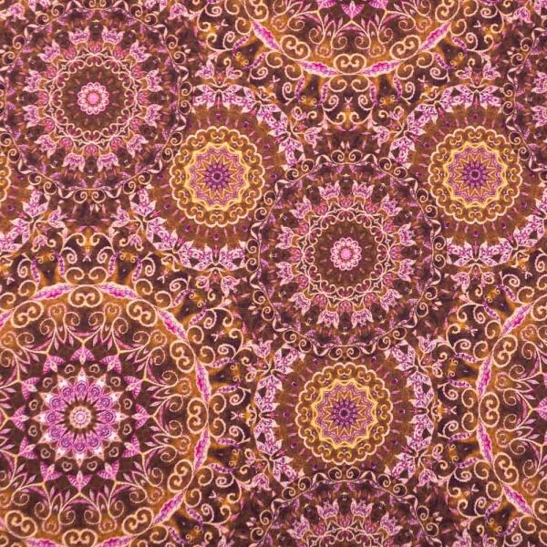 Viskosejersey Digital Oriental Mandala bordeaux dunkel