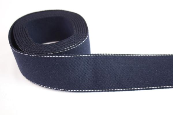 Edles Gurtband 40mm navy - natur abgesteppt Ökotex 100