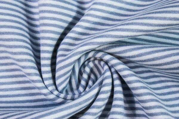 Ringel Bündchen Feinstrick jeansblau - hellblau Ökotex 100
