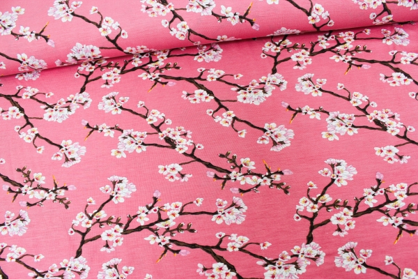 Modaljersey Blütenstränge altrosa dunkel Öko Tex 100